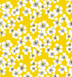 Sakura blossom seamless pattern on sunny yellow background. Elegant naive spring floral design element for invitation, card, poster, greetings, wedding Stock Photo