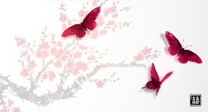 Sakura in blossom and three big red butterflies. Traditional oriental ink painting sumi-e, u-sin, go-hua. Contains. Hieroglyph - double luck Stock Photos
