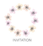 Sakura blossom vector wreath template. Cherry floral illustration. modern style flower of spring tree flowers vector illustration