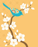 Sakura branch. Blue bird on blossom cherry branch royalty free illustration