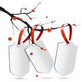 Sakura branch with three labels Stock Image