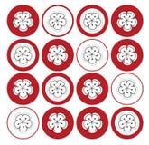 Sakura branco em pontos vermelhos ilustração do vetor