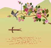 Sakura. cartolina. menu Fotografia Stock