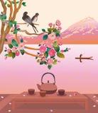 Sakura. Cerimonia di tè. Menu Immagini Stock Libere da Diritti