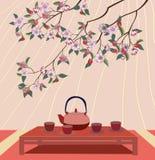 Sakura. Cerimonia di tè. Menu Fotografie Stock