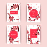 Sakura, Cherry Blossoming Tree Vector Background Illustration.. Set of Beautiful Floral Banners, Greeting cards, Wedding Invitations, Backdrops, Vouchers . Eps Royalty Free Stock Images