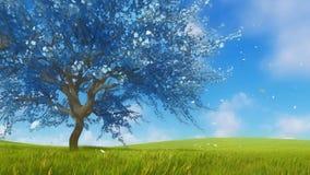 Sakura cherry tree in blossom fantasy 3D animation royalty free illustration