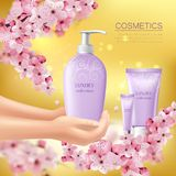 Sakura Colored Flyer. With cosmetic product in the hands of girl advertising vector illustration Stock Photography