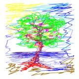 Sakura deciduous drzewo Staw w niebie Doodle ilustracja odizolowywająca na białym tle Fotografia Royalty Free
