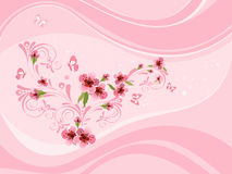 Sakura in the design wave Royalty Free Stock Image