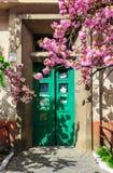 Sakura drzewo kwitnie przed drzwi Obrazy Royalty Free