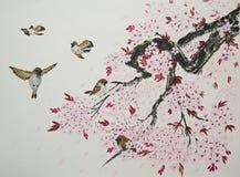 Sakura en mussen Royalty-vrije Stock Afbeeldingen