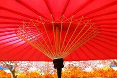 Sakura en Traditionele Japanse rode paraplu stock foto's