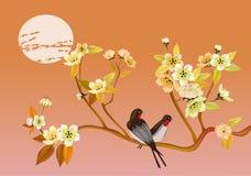 Sakura .Evening in the garden blooming cherry and birds Royalty Free Stock Photo