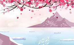 Sakura falling scatter with full moon, landscape with ice mountain, season change japanese background traveling poster concept, vector illustration