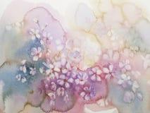 Sakura flower watercolor clouds. Sakura bloom watercolor background. Spring flowering. Pastel colors Stock Photos