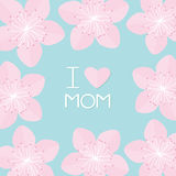 Sakura flowers big frame. Japan blooming cherry blossom set Blue background I love mom Happy mothers day Text with heart sign. Greeting card Flat design style Stock Photo
