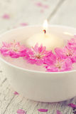 Sakura flowers and candle in a white bowl Royalty Free Stock Photos