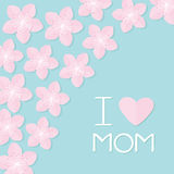 Sakura flowers corner frame Japan blooming cherry blossom set Blue background I love mom Happy mothers day Text with heart sign Gr. Eeting card Flat design style Stock Images