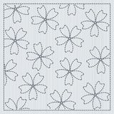 Sakura flowers in the frame Sashiko Quilting motif. Sakura flowers in the frame. Sashiko. Quilting motif for a fancywork. Traditional japanese embroidery Stock Photo