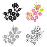 Sakura flowers icon in cartoon style isolated on white background. Japan symbol stock vector illustration. Stock Image