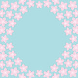 Sakura flowers round frame. Japan blooming cherry blossom set Blue background Template Flat design Royalty Free Stock Photography