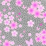 Sakura Flowers Seamless Pattern Royaltyfri Fotografi
