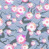 Sakura flowers seamless pattern Nature background with blossom branch of pink flowers. Cherry tree branches japanese wave circle p. Attern pastel colors on blue Stock Images
