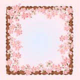 Sakura flowers spring frame vector Stock Images
