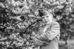 Sakura garden concept. Confident stylish child enjoy warm spring day. Boy fashionable teen posing near sakura. Child. Pink flowers of sakura tree background royalty free stock photography