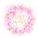 Sakura Happy Birthday Fotografie Stock Libere da Diritti