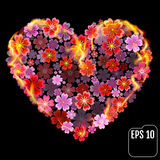 Sakura heart in fire isolated on black background. Fire heart wi. Th cherry flowers. 3d effect. Vector illustration Royalty Free Stock Images