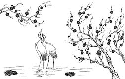 Sakura and herons royalty free stock photo