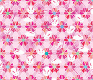 Sakura hexagon flower rabbit fan pink pastel seamless pattern Royalty Free Stock Image