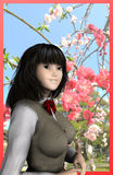 Sakura and Japanese schoolgirl Royalty Free Stock Photo
