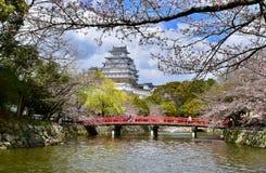 Sakura körsbärsröd blomning Himeji mest härlig slott Japan royaltyfri foto