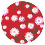 Sakura kwiatów natury tło z okwitnięcie gałąź różowi kwiaty Czereśniowego drzewa popielatych gałąź round karty sztandaru japoński ilustracja wektor