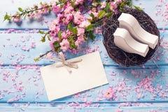 Sakura kwiaty, opróżniają etykietkę i dwa białego drewnianego dekoracyjnego ptaka Zdjęcie Royalty Free