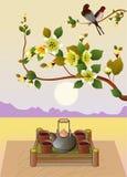 Sakura La sera nella ciliegia di fioritura del giardino e gli uccelli cantano Immagini Stock