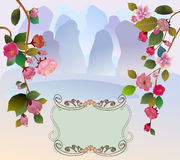 Sakura , landscape east Royalty Free Stock Image