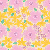 Sakura leaf origami pastel seamless pattern. This illustration is design and drawing pink and yellow colors Sakura flower and leaf in pastel color background and Royalty Free Stock Photo