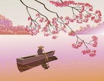Sakura . A lone boatman, Stock Image