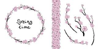 Sakura lutning royaltyfri illustrationer