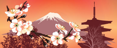 Sakura mountains and Japanese houses Royalty Free Stock Photos