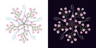 Sakura okwitnięcie, kwitnie czereśniowego drzewa, wektor royalty ilustracja