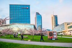 Sakura park and skyline, Vilnius Royalty Free Stock Photography