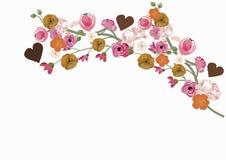 Sakura and peonies. Illustration of sakura flowers and peonies Royalty Free Stock Photo