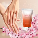Sakura Promotion Flyer. With women s hands and tube of hand cream with natural name vector illustration Royalty Free Stock Images