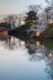 Sakura que florece en el castillo de Takada Imagen de archivo
