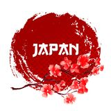 Sakura On Red Sun Background Calibre de signe du Japon d'isolement Symbole ou logo japonais traditionnel Illustration Stock